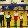 Madison School K-6 Students of the Month. Pictured left to right is Tucker Salmons (3rd) William Holohan (5th), John McNamara (2nd), Scott McGee (1st), Justin Purdy (K), Danielle Freels (6th,) Mallori Bennet (4th) not pictured.