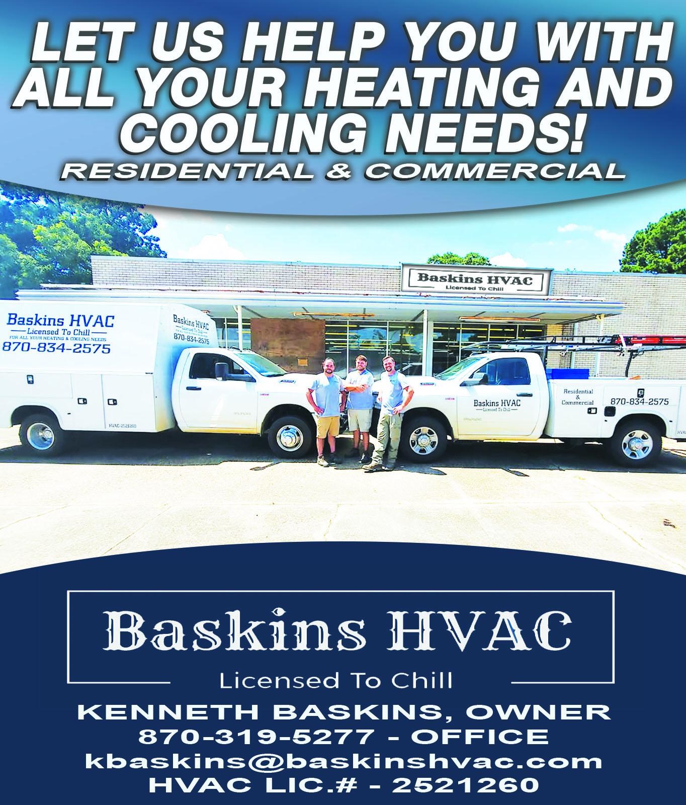 Baskins HVAC ad