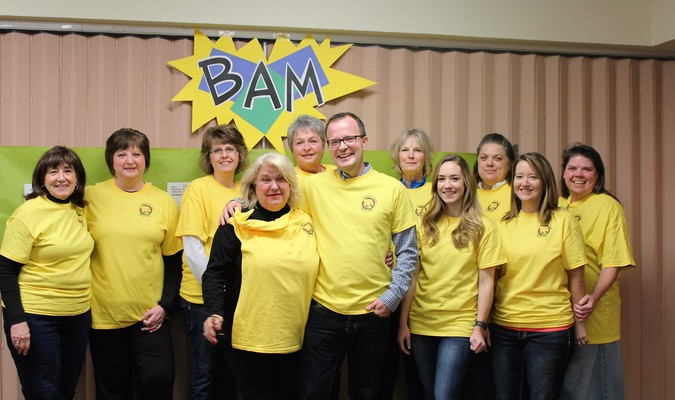 Volunteers during the kickoff wearing their BAM t-shirts.
