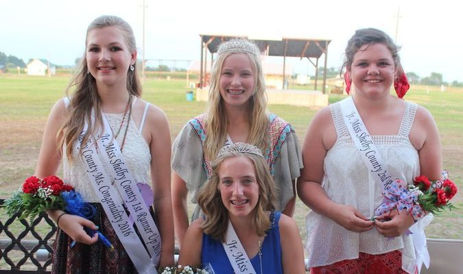 Photo: (seated) 2016 Shelby County Junior Queen, Amber Durbin and (back, left to right) 1st Runner Up Jena Hammond, 2015 Shelby County Junior Queen Callie and 2nd Runner Up Elisabeth Fugeat.