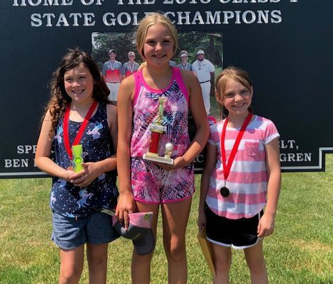 GIRLS AGES 9 - 11 WINNERS - Left to right - 2nd Place - Stella Hull; 1st Place - Kooper Wood; and 3rd Place - Dawsyn Hudson.