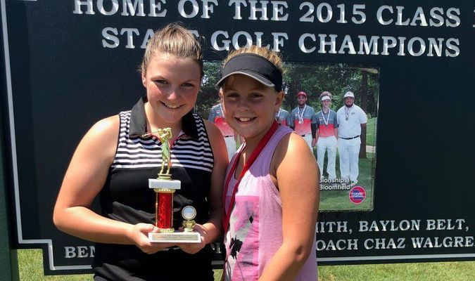 GIRLS AGES 12-14 WINNERS - Left to right - ; 1st Place - Kady Couch and 2nd Place - Kohyn Wood.