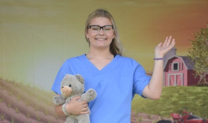 17-year-old Makayla Shaw who attends school in Bevier chose her career path scrub outfit.