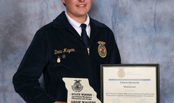 Drew Magers of the La Plata FFA Chapter wins Missouri FFA Agricultural Mechanics Design and Fabrication Proficiency Award during the 89th Missouri FFA Convention, Columbia, Missouri, April 20-21, 2017.