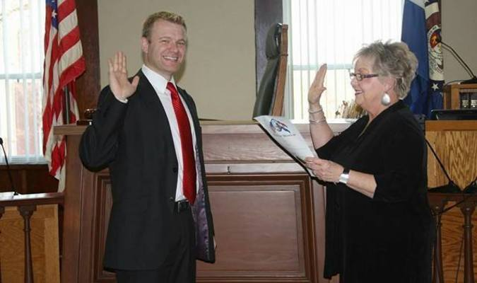 Pictured is Pat Clarke and Josh Meisner. This was her last day in office. She swore in Mr. Meisner as Prosecuting Attorney