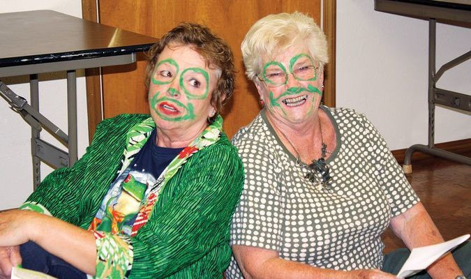 PATIO FROGS: Kathy Malcom, left, and Bettie Cooper, of the Marlow Patio Garden Club, perform an informative skit about how frogs are a very important part of our environment.