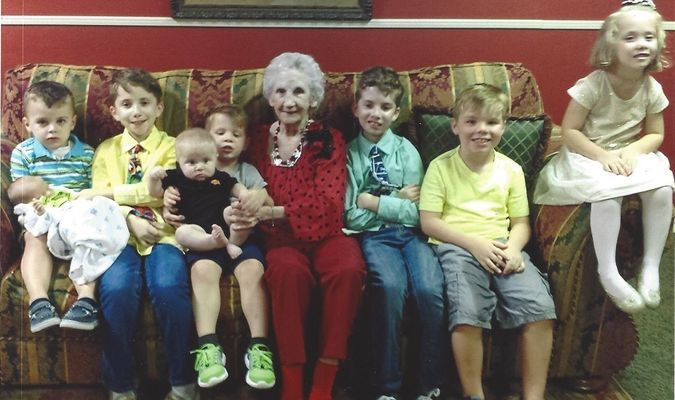 HAPPY BIRTHDAY, GREAT-GRANDMA: Joyce Pearson is pictured at her 90th birthday celebration with her eight great-grandchildren, from left, Madden Field holding brother Weston, Logan Astley, Gavin Woolf holding brother Regan, Joyce, Alex Astley, Kyler Woolf and Kaitlyn Astley. It appears Grandma and Kaitlyn are sadly outnumbered.