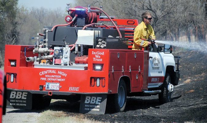 BUSY DAY: Fire departments from all over Stephens County were assisting the Central High Volunteer Fire Department last Thursday.