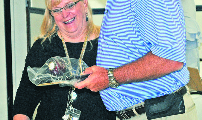 TEACHER OF THE YEAR: Marlow Public Schools first-grade teacher Terrie Keck was named the district's Teacher of the Year by superintendent George Coffman last Friday.