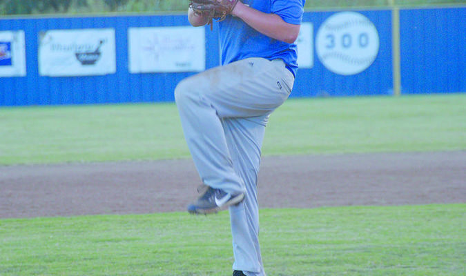LAST SUMMER GAME: Central High's Jackson Kettner begins his windup in the Bronchos' 8-4 win over Ninnekah on Tuesday.