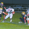 SIDESTEP: Marlow running back Owen Waxell tries to maneuver himself through the Kingfisher defense in the Outlaws' 42-21 road loss in the season opener last Friday.
