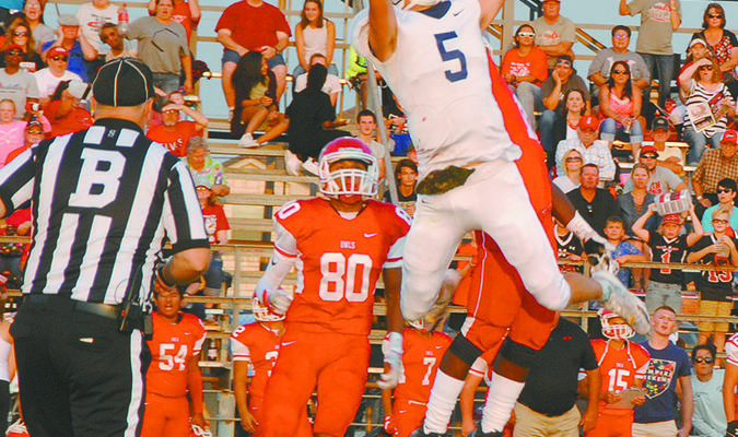 JUST OUT OF REACH: Marlow wide receiver Dawson Huddleston goes after a ball just out of his reach in the Outlaws 26-6 loss at Elgin last Friday. Marlow hosts Washington this week.