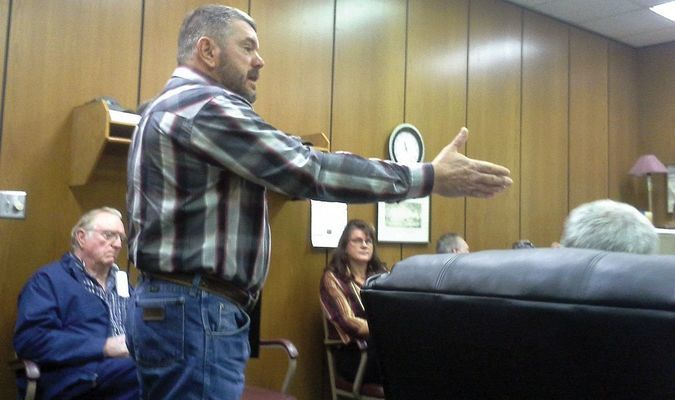 ADDRESSING THE BOARD: Jim McLain gestures as he presents his case about an issue that had come up involving him the previous week at the Stephens County Commissioners meeting.