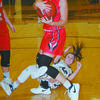 DOWN, BUT NOT OUT: Marlow's Macey Bateman hits the floor hard after losing a battle with Purcell's Haylee Swayze for a rebound last Friday night. Bateman may have lost the battle, but her and her teammates won the war with a 38-31 victory.