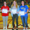AWARDED: Players receiving academic scholarships from the Stephens County Athletic Association were: (from left) Jordyn Morris, Comanche; Emily Ely, Velma-Alma; and Madison Kuntz, Central High. Not pictured is Brooke Morriston, Marlow.