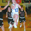 CAREER NIGHT: Marlow's Macey Bateman drives the lane to score against Pauls Valley in the Lady Outlaws' 60-54 upset win Tuesday night. Bateman had a career-high 21 points in the contest to lead Marlow in scoring.