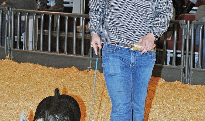 SHOW TIME: Cameron Freeman of Marlow FFA shows a hog at last year's Marlow District Show. This year's shows will include Marlow's on Friday, the Marlow District on Saturday, and the Central High show on Sunday at the Stephens County Fairgrounds.