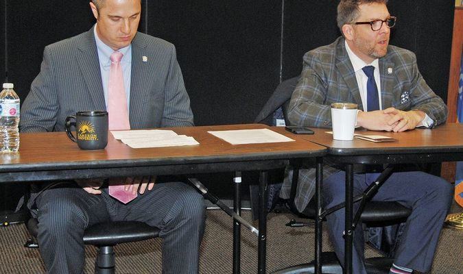 TALKING TO CONSTITUENTS: State Rep. Marcus McEntire (right) gives an opening statement about the latest Legislative session as Sen. Chris Kidd waits his turn at CU-Duncan last Friday morning.
