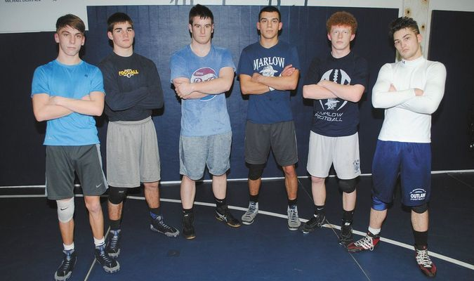 QUALIFIERS: Marlow wrestlers who qualified for this weekend's Class 3A state tournament include: (from left) Tyler Lawson, Kobey Kiarr, Houston Maxfield, Tyler Lavey, Noah Overshine and Anthony Orum. Action begins Friday morning at State Fairgrounds Arena In Oklahoma City.