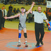 """CELEBRATION: Marlow sophomore Anthony Orum reacts as he has his hand raised as the winner of the 126-pound class at """"The Big House"""" in Oklahoma City last Saturday .Orum defeated Cooper Park of Sperry, 3-1, in the final."""