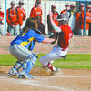 OUT AT THE PLATE: Central High catcher Alex Allen tags out a Waurika baserunner in the Bronchos' 7-6 win Monday.