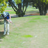 CHIPPING AWAY: Marlow's Ryan Ridge chips on the green at the Southern Oklahoma Invitational in Duncan last Thursday.