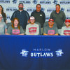 SNU BOUND: Marlow senior baseball player Tanner Ladon signed with Southern Nazarene University in Bethany last Wednesday. Pictured: (front) Clint Ladon, Kandie Ladon, Tanner Ladon, Ronnie Ladon and Peyton Ladon; (back) Annette Kraft and Marlow coaches Darryn Brantley, Eddie Herchock and John Morgan.