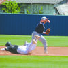 TURNING TWO: Marlow shortstop Houston Davis attempts to complete a double play in the Outlaws' 2-1 win over Marietta in the opening game of the regional tournament last Thursday.