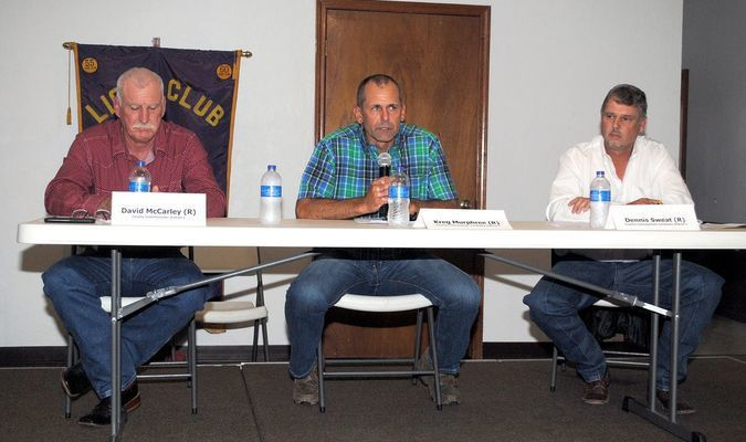 SEEKING VOTES: (from left) David McCarley, Kreg Murphree and Dennis Sweat addressed voters at a public forum at the Marlow Lions Den on Monday night. The GOP primary election is Tuesday. For a video of the full forum, visit The Marlow Review Facebook page.