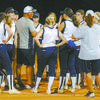 DISTRICT PLAY: Marlow coach Brian Miller talks to his team after their last summer league game of the night Tuesday. Miller is happy with the OSSAA's decision to have a district schedule in softball this season.