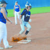Marlow's Anna Melton reaches third base safely on a passed ball