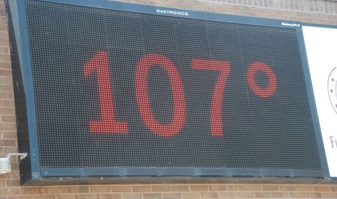 HOT ONE IN MARLOW: A bank's temperature sign gives the bad news as temperatures have been going over 100 degrees.
