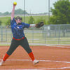 CRANKING IT UP: Rylie Pass, one of two pitchers Bray-Doyle will utilize this season, throws to the plate in a tournament last week.