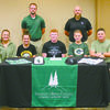 OVERSHINE SIGNING: Marlow's Noah Overshine signed a baseball scholarship with Crowley's Ridge College in Paragould, Ark. Pictured: (seated) Karsen Overshine (sister), Devin Overshine (sister), Noah Overshine, Keagan Overshine (brother), and Kendall Overshine (father); (standing) Brenden Camp (CRC head coach) and Tray Malone (CRC assistant coach).