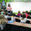 Marlow Elementary School teacher Leesha Crowson goes over her class' schedule at the first day of school for the district last Thursday.