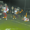 TOUGH YARDAGE: Marlow's Sam Ivory gets tackled after a short gain in the Outlaws' loss to Cache last Friday.
