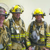 MAKING THE CLIMB: Marlow firefighters (from left) Blaine Richardson, Eric Spurlock, Brandon Burchfield and Jeff Prater climbed 110 flights of stairs in honor of firefighters killed in the 9-11 attacks on the World Trade Center.