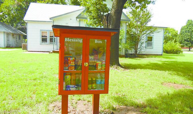 BLESSING BOX: First United Methodist Church in Marlow has constructed a box to hold food and personal hygiene items for those in need across from the church at 109 N. 5th.