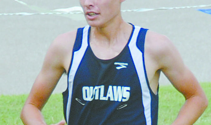 REGIONAL CHAMP: Noah Davis, pictured here competing earlier this season, won the individual regional championship and led the Outlaws to a second-place team finish last Saturday.