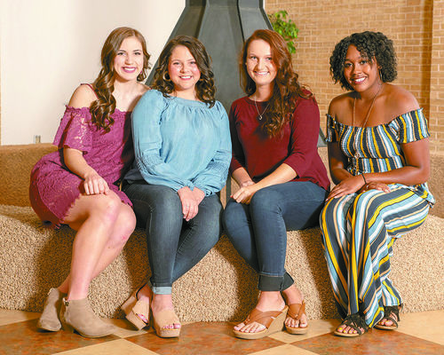 CONTESTANTS: Vying for the title of Miss Northern Oklahoma College Enid 2019 are (l-r) Alexis Large, Rush Springs; Brianna Crosswhite, Enid; Shaelee Sissom, Kremlin; and Johnetta Washington, Enid. The dual Miss NOC Enid-Miss NOC Tonkawa Scholarship Competition is set for 7:30 p.m. Thursday, Oct. 25 in the Kinzer Performing Arts Center at NOC Tonkawa.