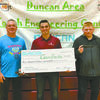 HIGH SCHOOL WINNERS: DAEDF President Lyle Roggow presents checks to High School Overall Competition winners: Gavin Banks of RRTC (Marlow) and Roland Cook of Duncan.