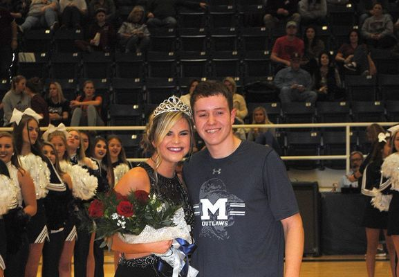 Marlow senior Macey Bateman was crowned the Marlow Basketball Homecoming Queen by crowning captain Cameron Freeman during halftime of the Marlow and Blanchard boys basketball games last Friday night.