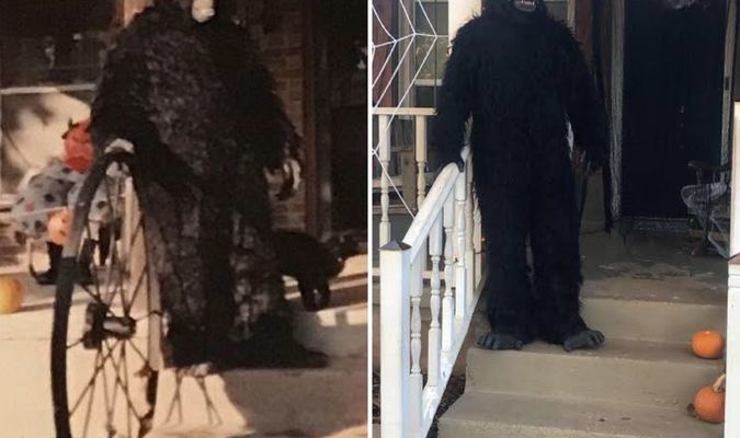 The gorilla costume on Halloween 1984 (left) and 2019 (right).