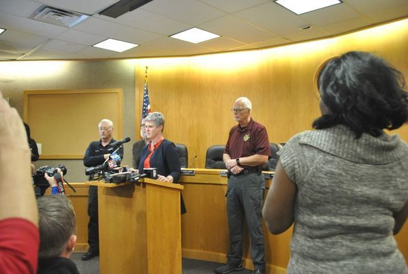 Duncan City Manager Kimberly Meek speaks at a press conference on Monday.