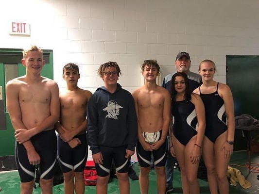 Marlow Swim Team, from left: Caleb Warren, Luke Banks, Karsten Terrell, Gage Davoult, Sage Minyard, Morgan Warren. Coach is John Smith.