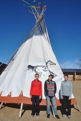 Marlow Middle School students Caden Davis, Kyle Keith, and Maci Miller  Photo by Elizabeth Pitts-Hibbard