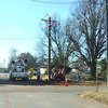City of Marlow employees work to replace a power pole on 4th and Caddo Streets earlier this week, continuing the public improvements reported by the Review in 1906.  Photo by Elizabeth Pitts-Hibbard