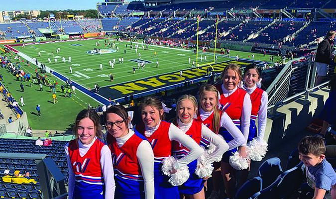 Members of the Marlow Cheerleading Team who performed at the Citrus Bowl are, from left: Kyah Blundell, Journey Bennett, Jessie Bennett, Aspen Trueblood, Danielle Gill, Valhana Woods, Kearsten Ball