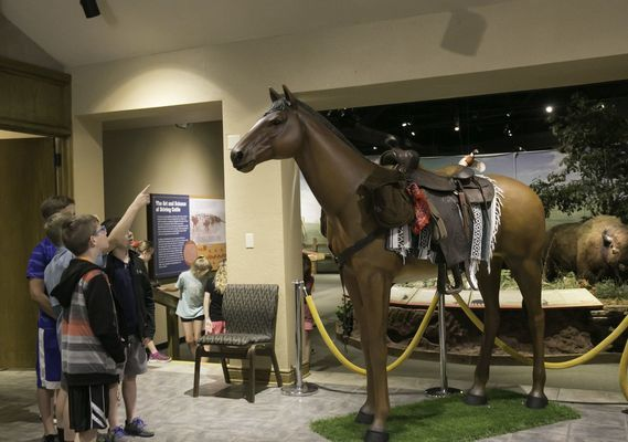 Children wonder about the size of the horse in the lobby at the Chisholm Trail Heritage Center in Duncan. Join a Zoom meeting 3 p.m. Wednesday, April 22, to learn what a cowboy carries when traveling on a cattle drive. Details will be on the museum's page on Facebook.