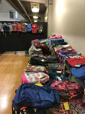 Stacks of backpacks await the arrival of students for Marlow First Baptist Church's annual School Daze event in 2019. The program offers bags of school supplies, backpacks, shoes, and clothing to students in need just in time for the fall semester to begin. This year's event is scheduled for Monday, August 10 from 6:30pm – 8pm.